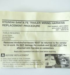 2010 to 2012 hyundai santa fe trailer towing wiring harness oem p n u8612 2b002 for sale online ebay [ 1600 x 1200 Pixel ]