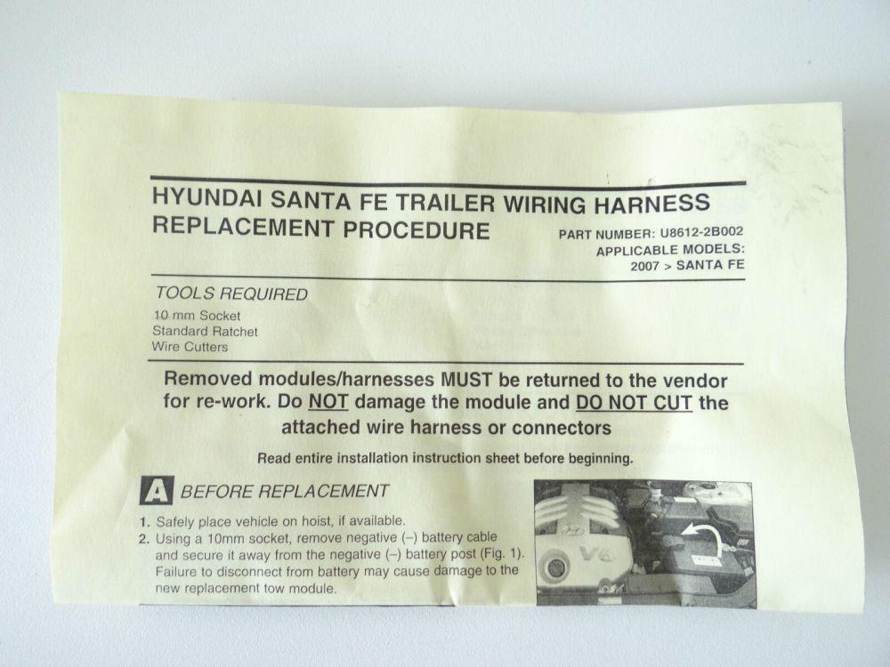 medium resolution of 2010 to 2012 hyundai santa fe trailer towing wiring harness oem p n u8612 2b002 for sale online ebay
