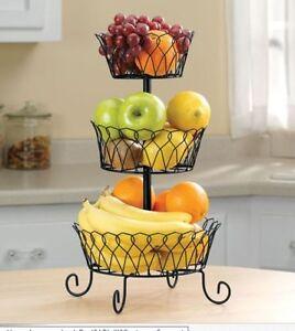 kitchen fruit basket anaheim hotels with near disneyland new rack 3 tier holder storage organizer stand image is loading
