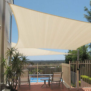 details about 12x12x12 beige triangle sun shade sail fabric canopy patio cover garden pergola