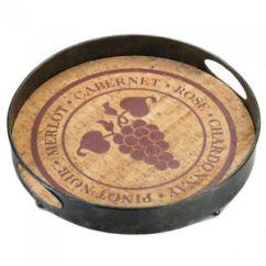 Vineyard Kitchen Decor Appliance Store Round Metal Serving Tray Wine Theme Bar Gift