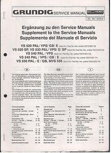 Service Manual Grundig Videorecorder VS520PAL VS50SP VS540
