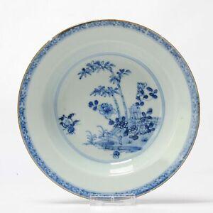 Antique Chinese Kangxi / Yongzheng Porridge dish Blue White Garden