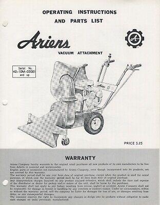ARIENS VACUUM ATTACHMENT OPERATORS/PARTS MANUAL VA-65 (502