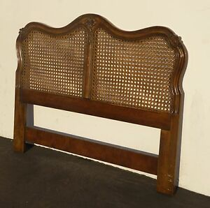Vintage-French-Country-Carved-Wood-amp-Cane-Queen-HEADBOARD