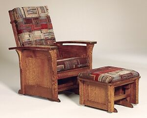 glider chair ottoman reclining lift amish mission arts and crafts bow arm panel image is loading