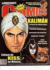 REVISTA SUPER COMICS MEXICO, KALIMAN Y LA SECTA DE LA MANO NEGRA, KISS, GODZILLA