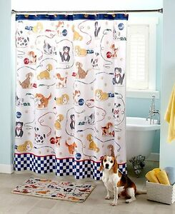 details about playful dogs shower curtain puppies paws cartoon kids checkered yarn bath set