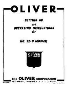 Oliver No. 22-B Rear Mounted Mower Oper & Setup manual # C