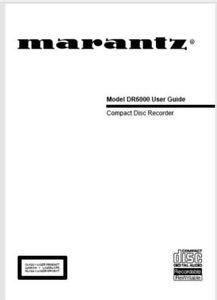 Marantz DR6000 CD Player Recorder Operating Instruction