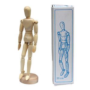 "Unisex 5.5"" Wood Unisex Art Mannequin Wooden Sectioned Posable Human Figure"
