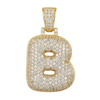 Custom Bubble Letter B Pendant 14k Gold Finish Simulated Diamonds Initial New Ebay