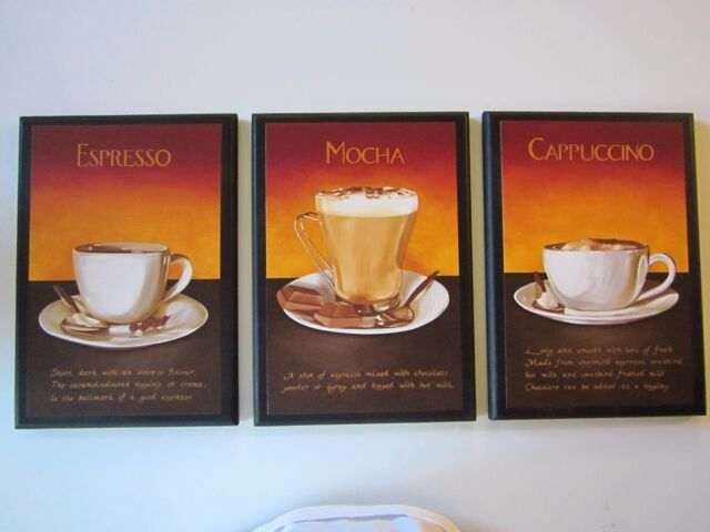 Coffee Mocha Espresso Cappuccino Latte Kitchen Wall Decor Plaques 4