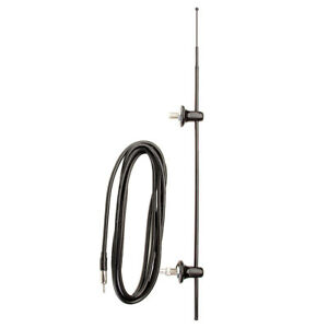 BLACK Mast & Base AM FM Radio Antenna Bus Dual Side Post