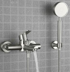 detalles acerca de brushed nickel sus shower tap wall mount bath tub faucet valve with hand shower