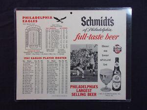 details about vintage 1961 philadelphia eagles roster schedule poster schmidt s 11 x 13 nice