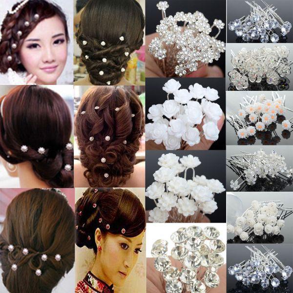 40pcs Wedding Bridal Pearl Flower Crystal Hairpin Hair