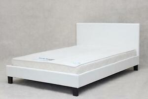Image Is Loading Double Bed White Faux Leather Mattress Option Free