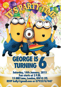details about 10 x personalised birthday invitations or thank you cards minions despicable me