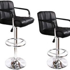 Leather Pub Chair Wholesale Covers And Sashes For Sale 2 Black Bar Stools Modern Hydraulic Swivel Image Is Loading