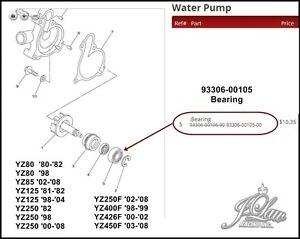 NEW Yamaha Water Pump BEARING 93306-00105 YZ80/85/125/250