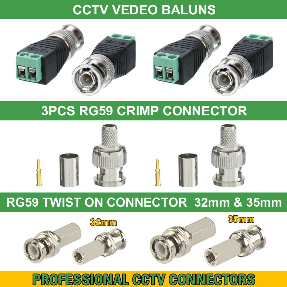 medium resolution of details about cctv bnc coax crimp video rca phono rg59 balun utp cat5 connector joiner coupler