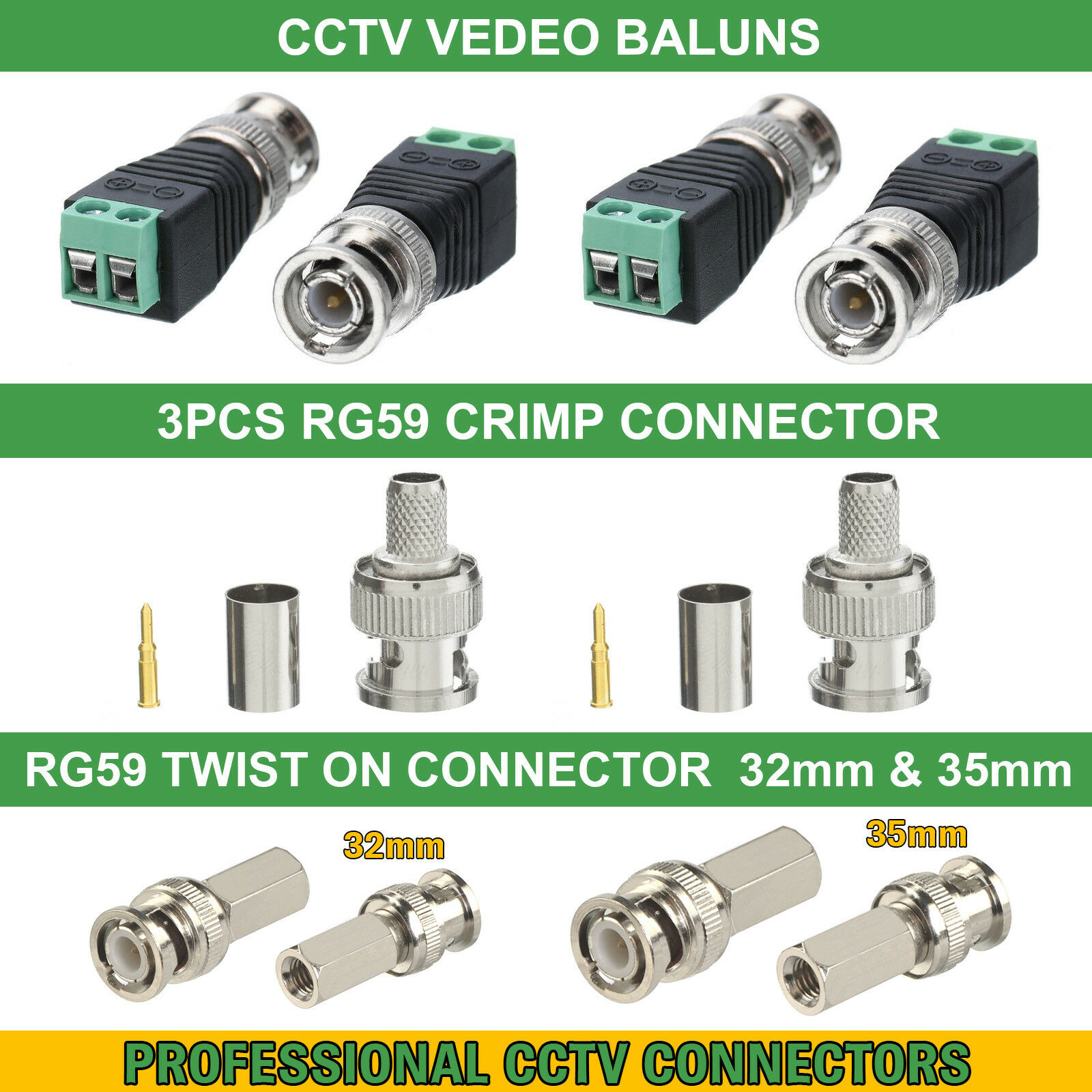 hight resolution of details about cctv bnc coax crimp video rca phono rg59 balun utp cat5 connector joiner coupler