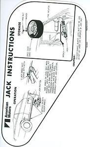 1971-72 AMX/JAVELIN JACK INSTRUCTION WITH SPACE SAVER