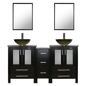 60 Black Bathroom Vanity Vessel Sink Small Cabinet Set Glass Faucet Combo Ebay
