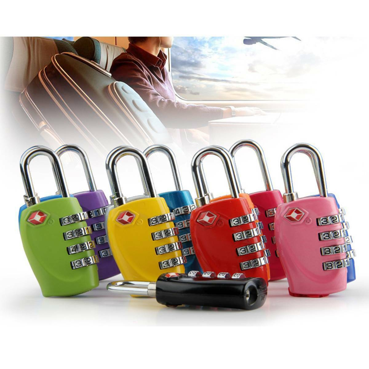 4-bit-dial password padlock travel suitcase portable padlock Random Color Chic