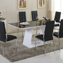 White High Gloss Dining Table 6 Chairs Wooden Chair Stevens Point Murano Black Glass Set And