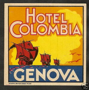 Details About Original Vintage Label Hotel Colombia Genova Italy Ship