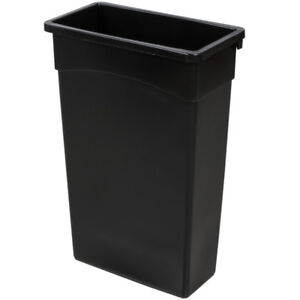 tall kitchen garbage can bench table 23 gallon black wall hugger trash 2748322bk ebay image is loading