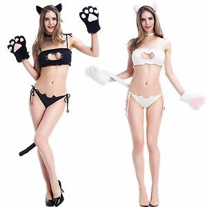 Image Is Loading Hot Sexy Cat Girl Halloween Costume Cute Role