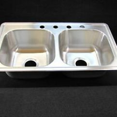 Mobile Home Kitchen Sink Modern Stools 33 X 19 8 Extra Deep Double Bowl Stainless Details About Rv
