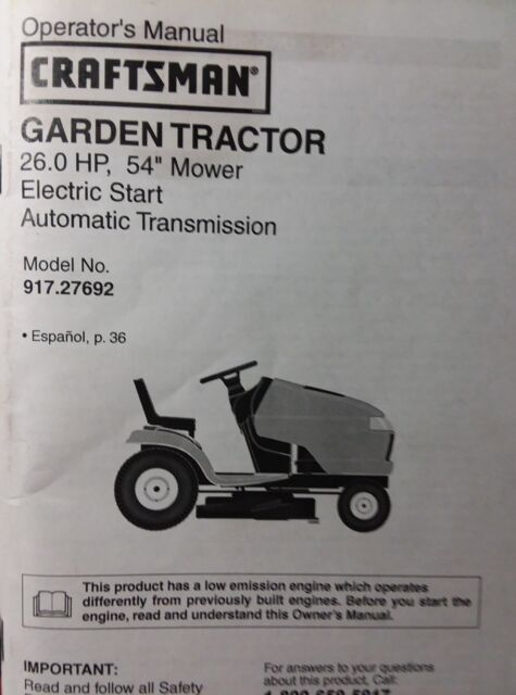 Craftsman Lawn Tractor 26 Hp 54 Mower