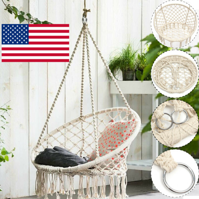 hanging chair rope plastic adirondack 47 beige macrame hammock swing cotton outdoor frequently bought together