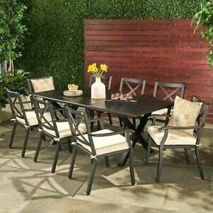 details about eowyn 9 piece cast aluminum outdoor dining set with expandable table