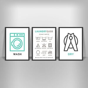 details zu laundry care guide print poster utility room washing symbols wash dry word art