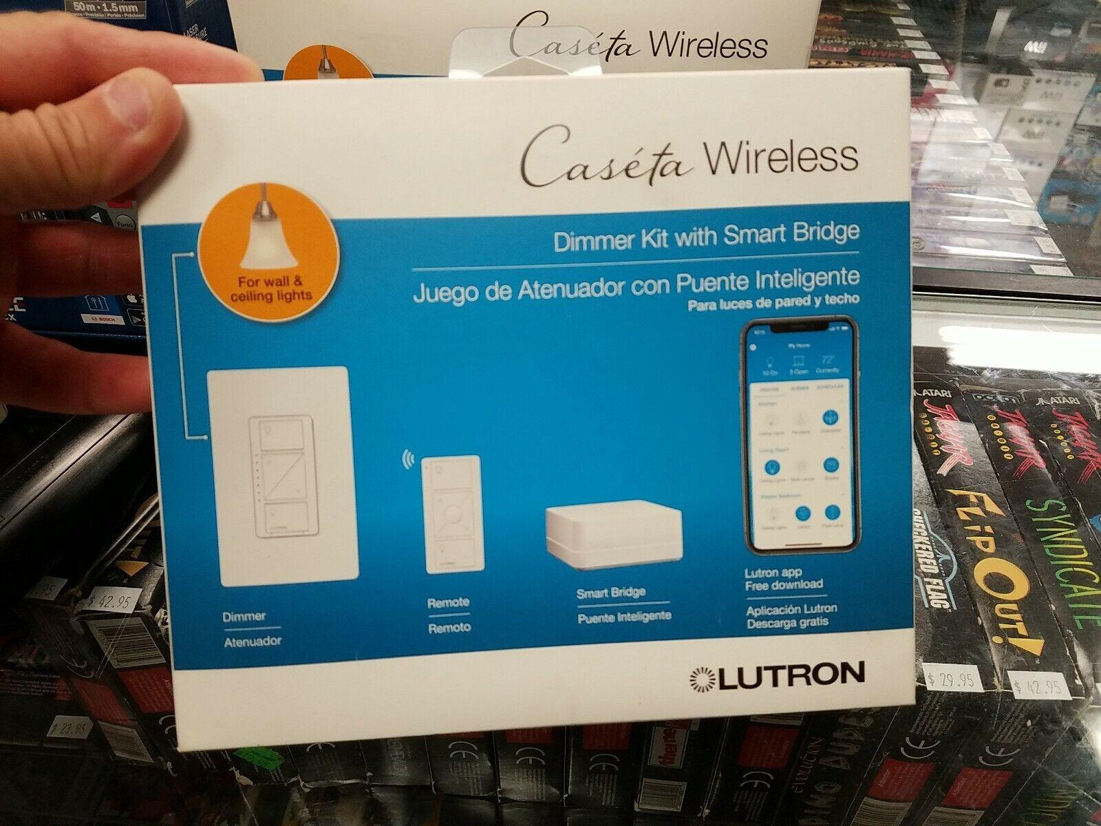 lutron caseta p bdg pkg1w wireless dimmer kit with smart bridge white