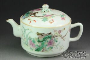 Chinese Famille Rose Porcelain Teapot, Birds & Flowers, Late 19th to Early 20thC