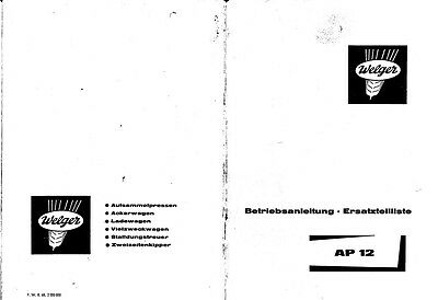 Welger AP12 Baler Parts Manual (PDF file) SPARE PARTS LIST