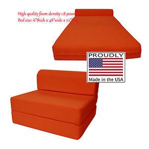 sleeper chair folding foam bed full size paul mccobb 6 x 48 72 orange density details about 1 8 lbs