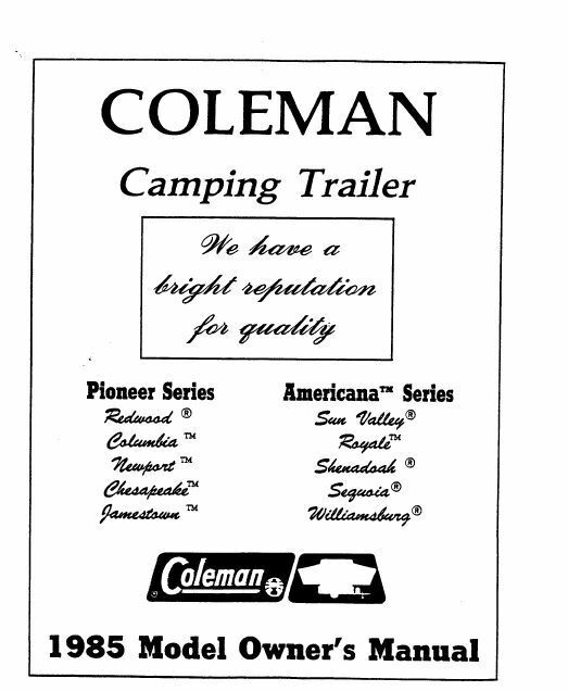 COLEMAN Popup Trailer Owners Manual-1985 Americana Sun