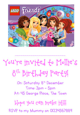 personalised photo paper card party birthday invites invitations lego friends 1 ebay