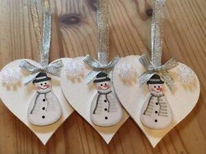 3 x snowman christmas decorations handmade shabby chic real wood - Handmade Shabby Chic Christmas Decorations