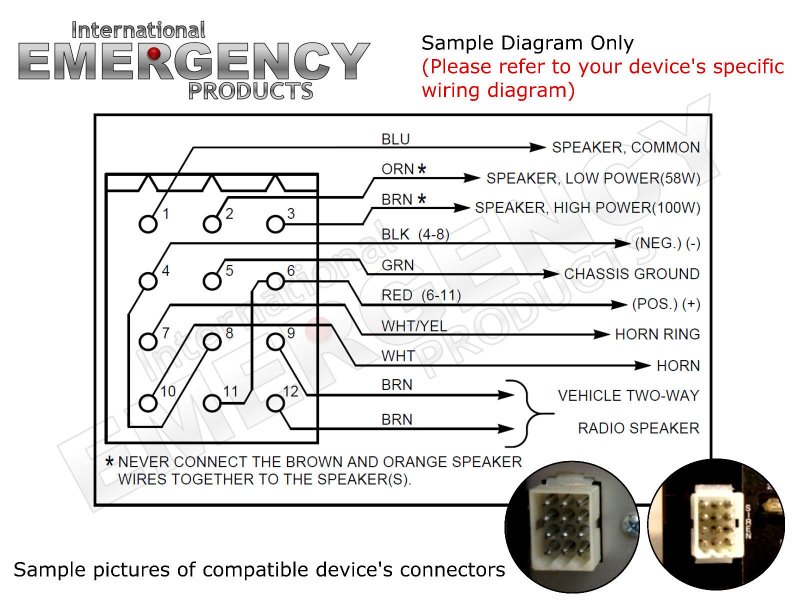 hight resolution of 12 pin connector plug harness power cable for federal signal siren pa 300 ss2000