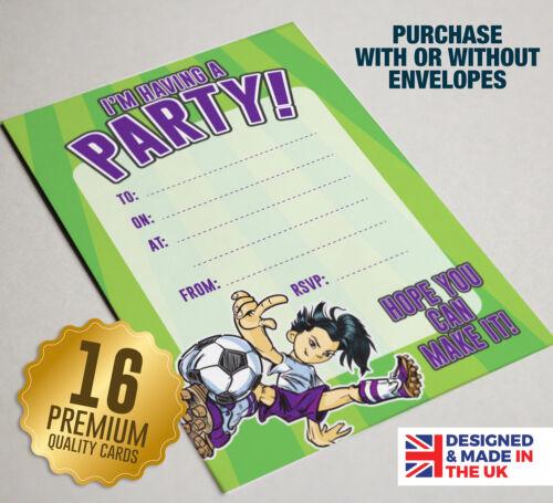 16 cartes a6 ideal pour anniversaire enfants filles football theme party invitation