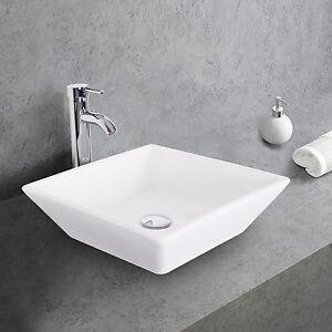 details about square ceramic bathroom vessel sink w faucet chrome white bowl combo drain hose