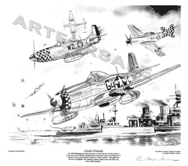 P51 MUSTANG WW II LITTLE FRIENDS AVIATION 11 x 12.5